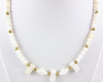 White Mother of Pearl Beaded Necklace 18 inch Handmade Necklace