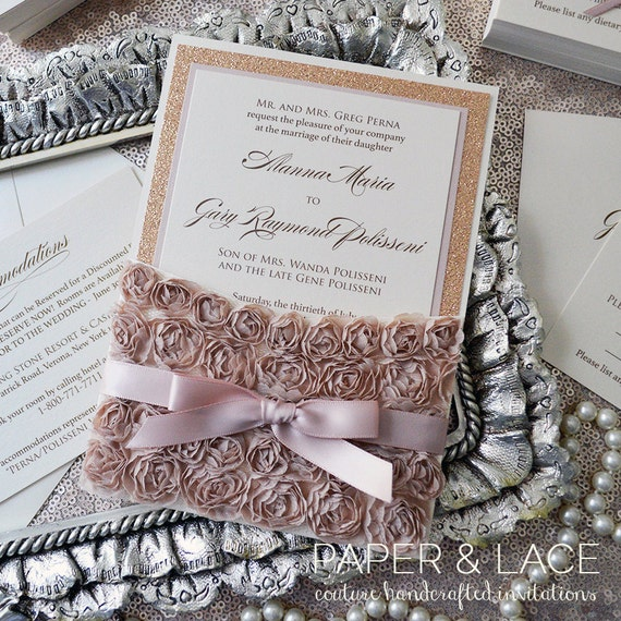 ALANNA- Rosette Lace Wedding Invitation - Lace Pocket Invitation with Rose Gold Glitter, Champagne Rosettes, and Blush Ribbon Accents