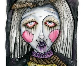 Depressed Clown, Watercolor, Art Print, Horror Art, Gothic, Victorian Art, Home Decor, Gothic Art, Wall Hanging