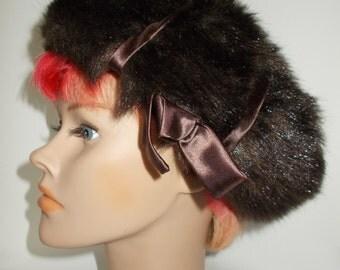 Vintage Hat 60s Brown Faux Fur pill box Hat