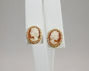 14kt Yellow Gold Small Cameo Earrings