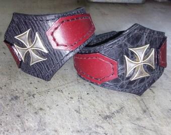 pair iron cross coffin cuffs