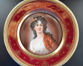 Antique Royal Vienna Style Hutschenreuther Portrait Plate 19th Century Bindenschild Beehive Mark German Bavarian Porcelain