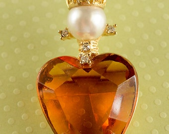 Amber Glass Heart Crown Brooch