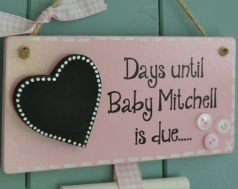 Personalised days until baby is due chalkboard, pregnancy gift, new parent to be, grandparent.