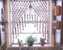 Macrame Curtain, Macrame Wall Hanging, Vintage Fiber Art,  Boho Vintage, Bohemian curtain, Boho decor, Knotted curtain, Window treatment