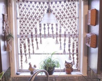 Macrame Curtain, Macrame Wall Hanging, Fiber Art, Boho Vintage, Bohemian  Curtain,