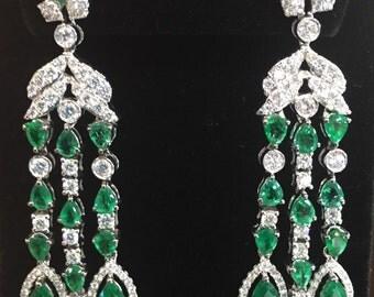 Emerald and Diamonds earrings 18K