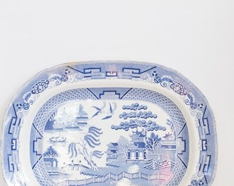 Sale Item - Staffordshire Blue and White Platter J.Meir & sons.