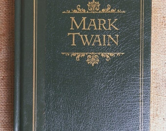 Vintage Leather-Bound Mark Twain Book: Huckleberry Finn, Tom Sawyer, Prince and the Pauper, Short Stories and More, 1987