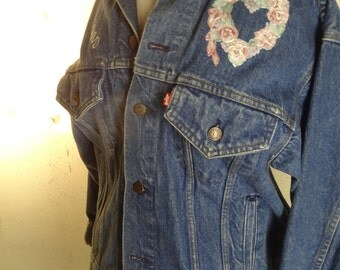Classic Levi Strauss Denim Jean Jacket embellished with pink and white flowers and roses. Size S.  FREE SHIPPING