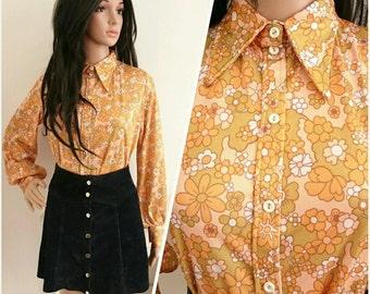 Vintage 70s Orange Flower Power Daisy Psych Mod Blouse Top / UK 14 16 / EU 42 44 / US 10 12