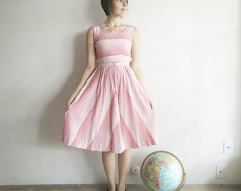 Vintage 1950s Pink Striped Day Dress/50s Dress/X-Small