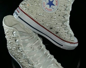 bridal converse wedding converse bling pearls custom converse sneakers personalized chuck taylors