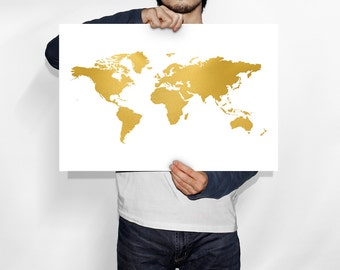 Chic gold world map world map print black and gold home gold world map world map gold world map poster world map art gumiabroncs Images