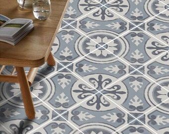 Vinyl Floor Tile Sticker - Floor decals - Carreaux Ciment Encaustic Messina Tile Sticker Pack in Carbon