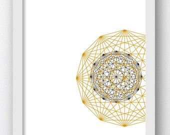 Gold Polygon, Gold Spheres, Gold Geometric Decor, Printable Gold Art, Geometrical Art, Gold Wall Decor, Gold Wall Prints Geometric Shapes
