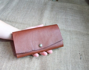Leather Womens Wallet - leather purse - Coin Purse - Travel Wallet - Italian chrometan Leather in RUSSET by Valentina Picchi.