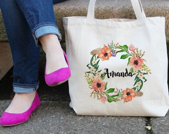 Personalized Tote Bag | Floral Tote Bag | White Tote Bag | personalised Tote Bag | Bridesmaid Tote Bag | Canvas Tote | Custom Tote bag