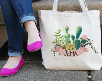 Personalized Tote Bag | Floral Tote Bag | White Tote Bag | personalised Tote Bag | Bridesmaid Tote Bag | Cactus Tote bag | wedding tote bag