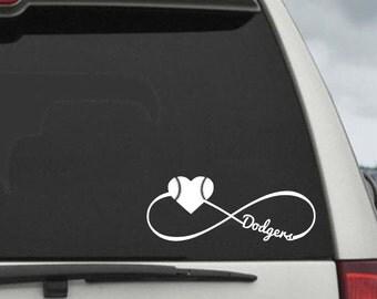 Dodgers Infinity Baseball Heart Decal - Car Window Decal Sticker