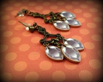 Chandelier Earrings - Fake Diamond Earrings - Faux Gemstone - Fake Gemstone - Costume Jewelry - Diamond Dangle Earrings - Plastic Gemstones