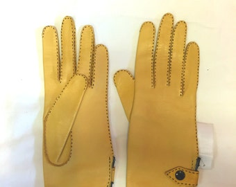 Supple Tan Leather Gloves with Black Stitching and Snaps