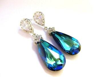 Bermuda Blue Earrings Swarovski Elements Crystal Teardrop Earrings Wedding Jewelry Bridesmaid Gift Bridal Earrings Blue Earrings (E002)