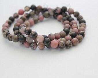 Pink Rhondite Beaded Bracelet / Semi Precious / Natural Beads