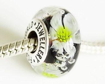 Lampwork glass Charm bead. Silver caps core beads. Big hole bead, Fits Pandora. European Bracelet beads. Handmade lampwork blue flower beads