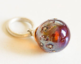 Artisan Lampwork glass Charm bead. Dangle Charm pendant. Lampwork bead handmade, Fits Pandora, European bracelet dangle bead.