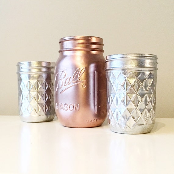 Deco glam wedding rose gold mason jar rustic office for Deco maison rose gold