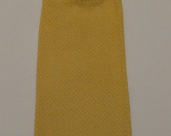 Solid Colored Golden Yellow Hanging Kitchen Towel with Cow Button