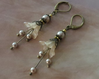 TAUPE LILY EARRINGS Pearl Swarovski brass filigree drop bell flower cream champagne handmade shabby chic vintage bridesmaid gift her jewelry