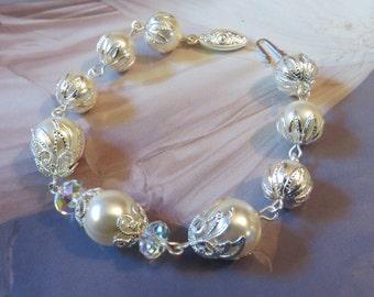 BRIDES IVORY SILK Lace Bracelet Swarovski Pearl Crystal Cream White Wedding Silver Bridal Filigree Antique Jewellery Jewelry Handmade Dress