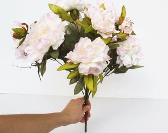 Luxury 12 Silk Peonies Bouquet Flowers Soft Pink Peony Flowers Peony Buds DIY Wedding Artificial Bouquet Flower For Wedding Events Crafts