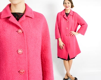 60s Pink Wool Boucle Coat | Magenta Pink Coat | Sycamore | Medium Large