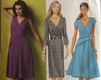Butterick B5918 - Pleated Surplice Wrap Dress with Bias Sash Flared or Fitted Skirt - Size 14 16 18 20 22