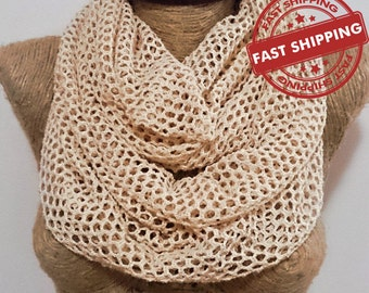 Natural infinity scarf honeycomb circle scarf natural undyed ecofriendly scarf spring summer fall accessories Last 1