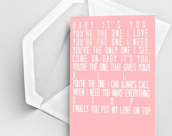 Beyonce Lyric Card, Love On Top Lyric Card, Typography Card, Love Card, Anniversary Card, Wedding Card, Valentines Day Card, Compliment Card