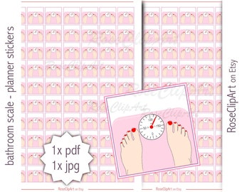 bathroom scale stickers - instant download - printable weighing scale stickers - health planner - commercial use allowed - workout wellness