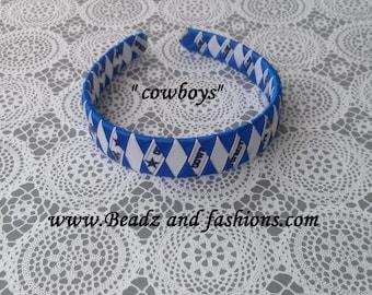 Cowboys woven diamond headband blue white football
