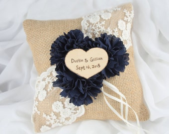 Personalized Navy Ring Pillow - Burlap Ring Bearer Pillow - Rustic Wedding Pillow