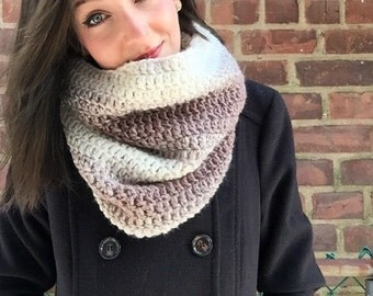Cream & Taupe Ombre Crocheted Cowl Scarf