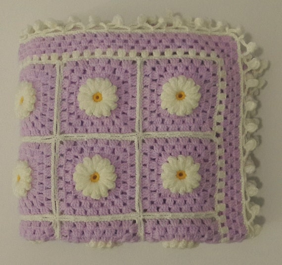 Free Shipping Hand Knitted Daisy Flower Pattern Baby Blanket