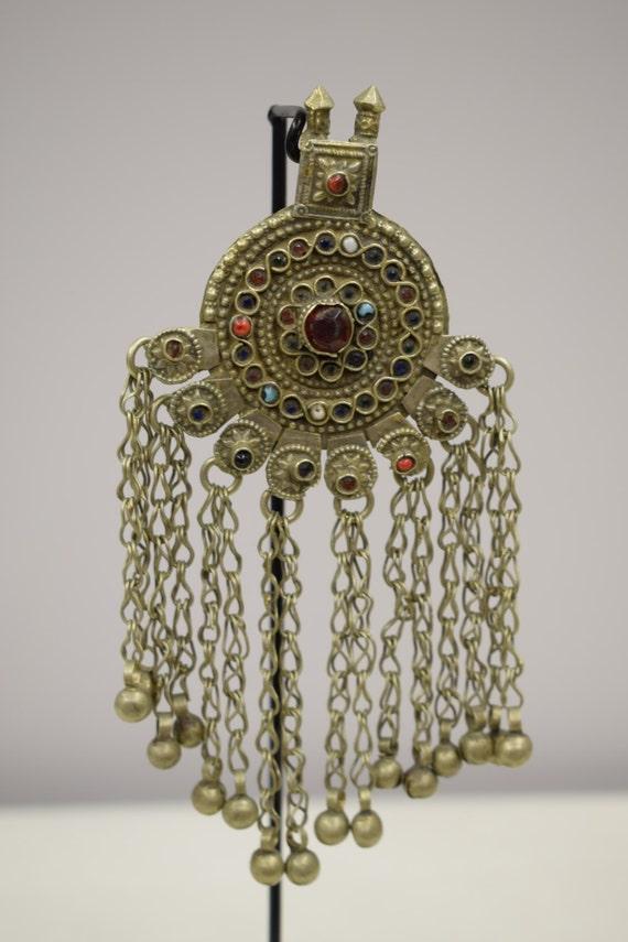 Pendant Middle Eastern Silver Brass Kuchi Red Blue Green Glass Handmade Jewelry Belly Dancing Unique Kuchi Dangle Pendant