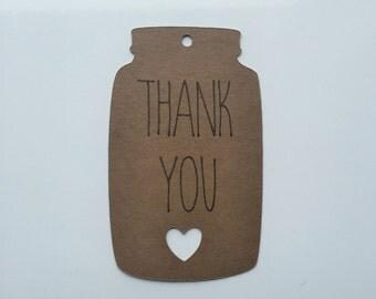 "Mason Jar Thank You Tags (2"" Wide), Mason Jar Tags -  Rustic Wedding Favor Tags"