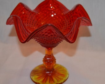 Fluted Red Orange Hobnail Candy Dish