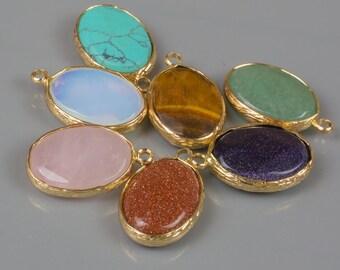 Gold Bezel Gemstone Oval 18*21mm 2 pcs