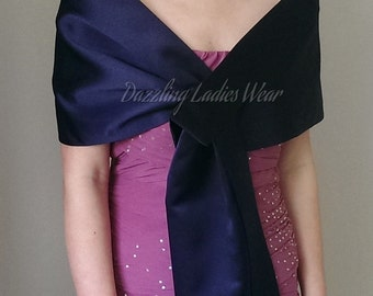 Navy/Dark Blue Satin Shawl - UK 6-24/US 2-20 Wrap/Stole/Shrug/Tippet